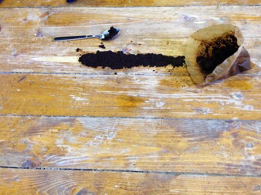 """Experiment """"Abdunklung von Holz mit natürlichen Mitteln"""": Kaffee-Test."""