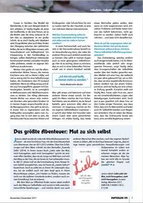 """Interview mit C. Perleberg im unabhängigen Frauenmagazin MATHILDE, Heft 151 Schwerpunkt """"Selbstliebe&Selbstfürsorge"""""""