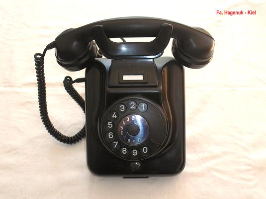 Bild 375-b - Fa. Hagenuk - Kiel - Wandmodell W 48 A 2 usz.  schwarz - Fertigungsjahr 1966