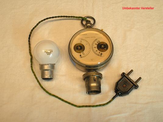 Bild 524 - Unbekannter Hersteller - Leuchtmittel Prüfgerät u. Spannungsmesser bis 110 Volt - Fertigungsjahr ca. 1900