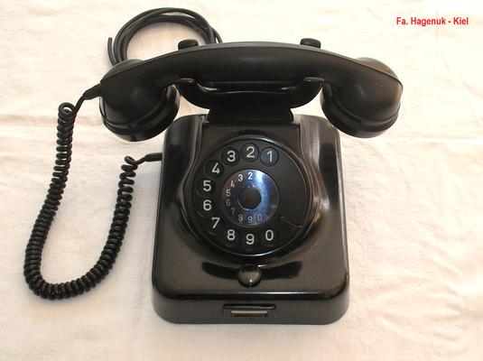 Bild 375-a - Fa. Hagenuk - Kiel - Wandmodell W 48 A 2 usz.  schwarz - Fertigungsjahr 1966