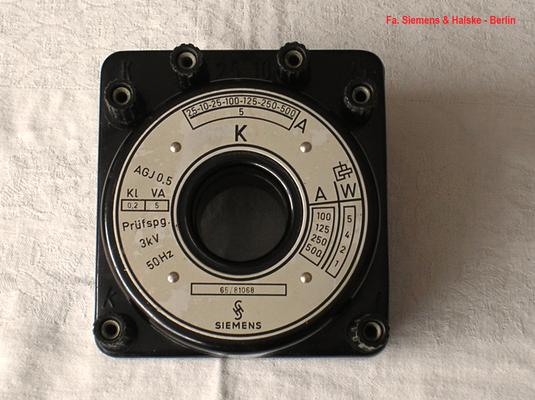 Bild 522 - Fa. Siemens & Halske - Berlin - Messwandler Strom - Fertigungsjahr ca. 1965