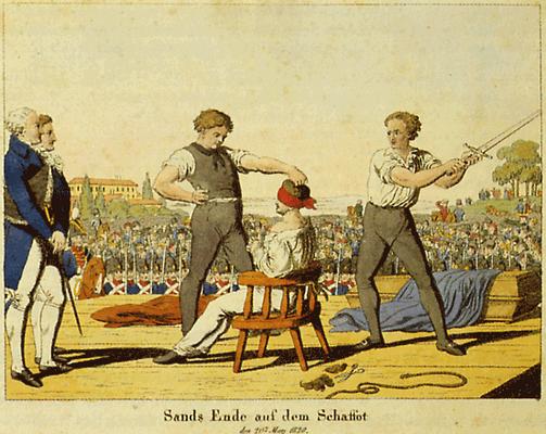 Sands Hinrichtung  (Zeitgenöss. Kupferstich)