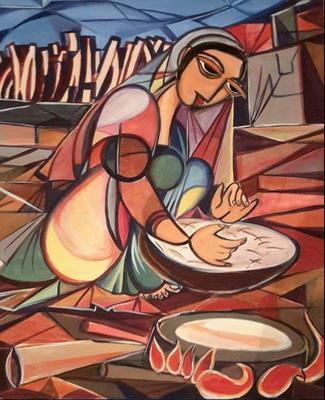 """Titre """"Woman who making arabic bread"""" (2014) / 60 cm x 40 cm / Peinture à l'acrylique sur toile / Prix: 1300€"""