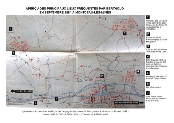 plan des lieux fréquentés par Berthoud, document 4 - source A.D. Puy-de-Dôme