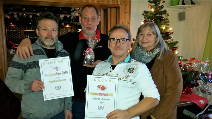 Pokalsieger 2018: v.l. Gunther Sodann (Vereinsmeister), Sportwart Markus Mühleis, Jörg Lenz (Weihnachtspokal) und Vorsitzende Elli Hirschmann