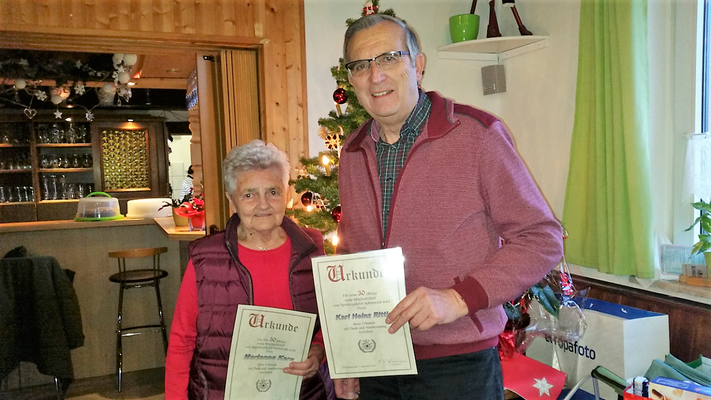 Jubilare 2018: Marianne Kern und Karl Heinz Rittig (30 Jahre)