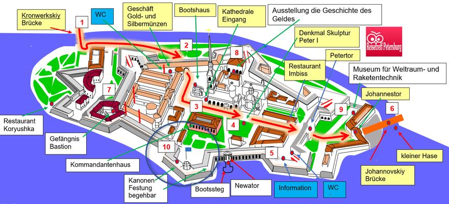 Schema Tour durch die Peter und Paul Festung