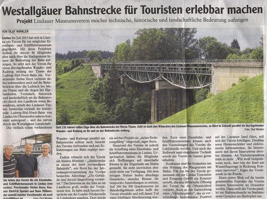 """Westallgäuer 10.06.2016: Projekt Bahnmuseum """"Ludwig-Süd-Nord-Bahn"""" Landkreis Lindau"""