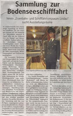 Lindauer Zeitung (Vereinsseite) 19.04.2016: Sammlung Bodensee-Schifffahrt