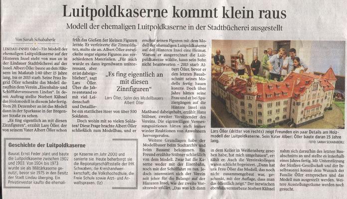 Lindauer Zeitung 31.08.2016:  Ausstellung Modell Luitpold-Kaserne in der Stadtbücherei Lindau