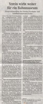 Lindauer Zeitung 29.05.2017:  2. Jahreshauptversammlung 17. Mai 2017