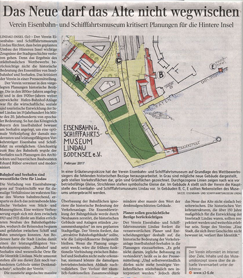 Lindauer Zeitung 22.02.2017: Pressemitteilung des Vereins zum Ergebnis des städtebaulichen Wettbewerbs