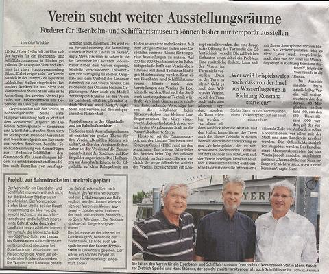 Lindauer Zeitung 02.06. 2016:  1. Mitgliederversammlung 31. Mai 2016