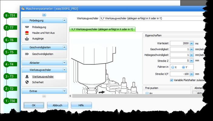 """Zuerst muß die Option """"Variable Platzhalter zulassen"""" im Menü """"Maschineparameter -> Werkzeugwechsler"""" aktiviert werden."""