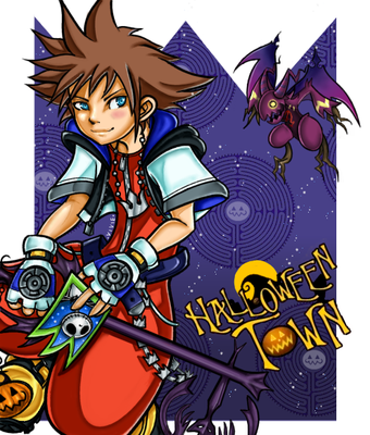Sora. Karakter uit Kingdom Hearts. Paintshop Pro.