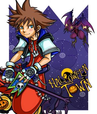 Sora. Karakter uit Kingdom Hearts. Paintshop Pro.