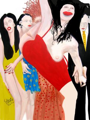 Feine Gesellschaft II, 2011, Lack/ Acryl/ Leinwand, 80 x 80 cm