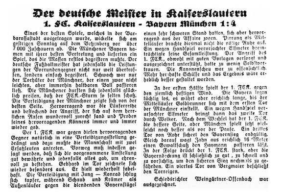 Spielbericht zur Begegnung am Betzenberg 1933. Foto: Bildarchiv Eric Lindon (NSZ Rheinfront, 27.02.1933)