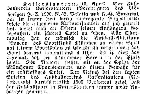 Vorbericht und älteste Berichterstattung aus dem Jahr 1909. Foto: Bildarchiv Eric Lindon (Kaiserslauterer Stadtanzeiger, 10.04.1909)