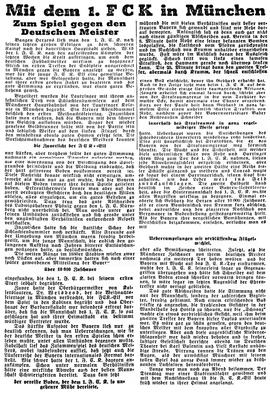 Saison 1932/1933, Bericht zum Spiel in München. Foto: Bildarchiv Eric Lindon (Pfälzische Volkszeitung, 24.12.1932)
