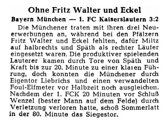 Testspiel gegen die Bayern am 02.08.1958. Foto: Bildarchiv Eric Lindon (RHEINPFALZ, 04.08.1958)
