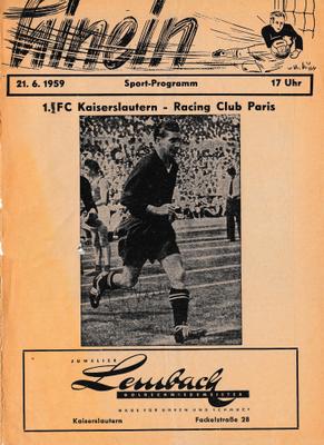 """Titelbild der Stadionzeitschrift """"Hinein"""" zum Abschiedsspiel von Fritz Walter am 21.06.1959 (Foto: Archiv Eric Lindon)"""