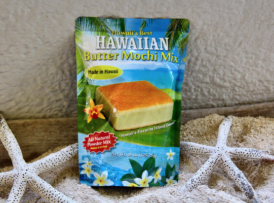 Hawaii's Best Hawaiian Haupia からは簡単にバターモチが作れるミックスが販売されています。他にもハウピアミックスやモチコチキンミックスなども。かわいいパッケージに入っていてお土産にもいいかもです〜。 https://www.hawaiisbesthawaiianhaupia.com/