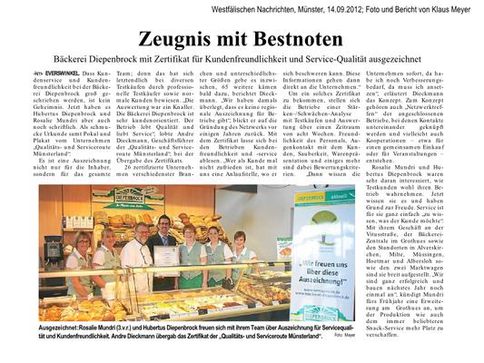 Auszeichnung Bäckerei Diepenbrock - Bericht der Westfälischen Nachrichten aus Warendorf