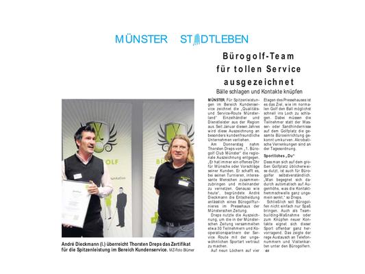 Bürogolf Team aus Münster Auszeichnung