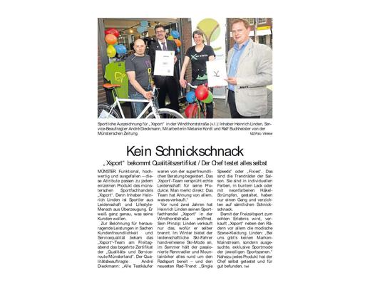 XSPORTS aus Münster Auszeichnung