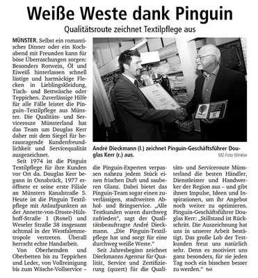 Die Qualitäts- und Serviceroute Münsterland zeichnete die Pinguin Textilpflege aus.