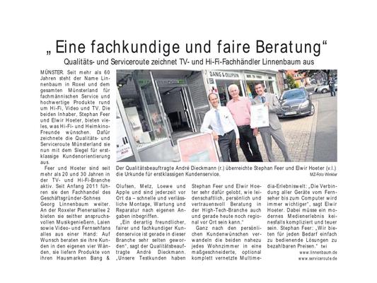 Auszeichnung Firma Linnenbaum aus Münster