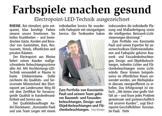 Auszeichnung Electropoint aus Rheine
