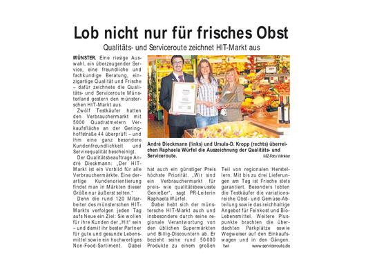 HIT Markt Münster Auszeichnung