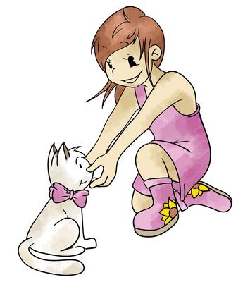Abenteuermädchen mit Katze