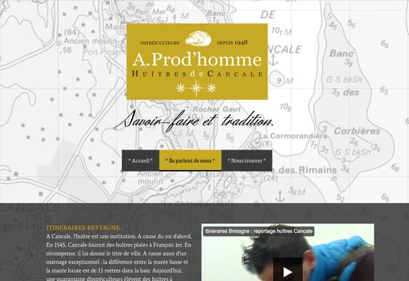 Site internet Huître A. Prod'homme Cancale