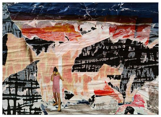 Die Öffnung des sechsten Siegels, décollage with collage, 27,2 x 37,7 cm, 2020