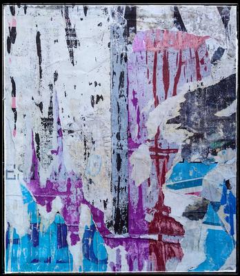 Columna, décollage, 35 x 31,2 cm, 2020