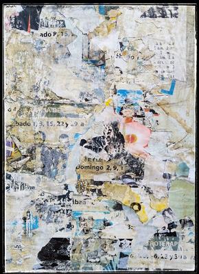 Sábado Domingo, décollage, 30,3 x 21,8 cm, 2020