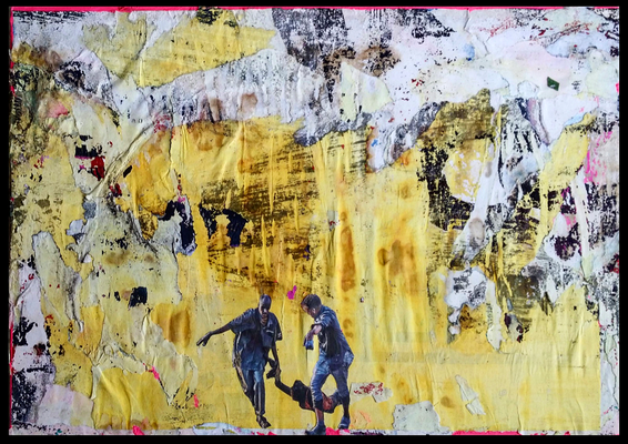 Flucht, décollage with collage on acrylic on wood, 30 x 42,2 cm, 2019