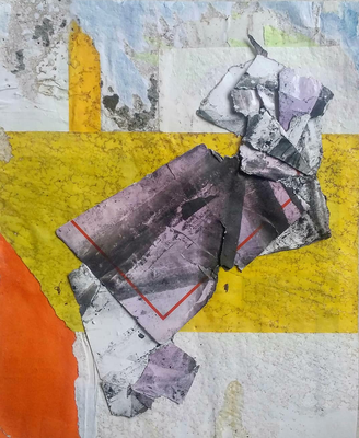 Taurus, collage on décollage, 21,2 x 17,5 cm, 2019