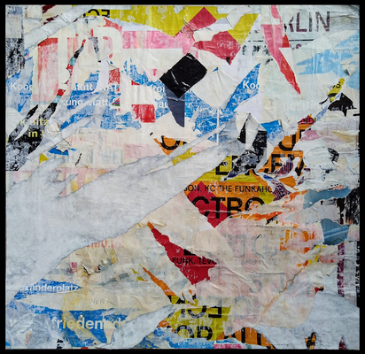 Eckfunk, décollage with tape, 43,5 x 45,3 cm, 2020