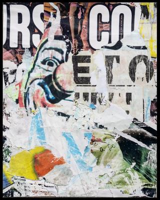 Le Clown, décollage, 43,5 x 34,8 cm, 2019