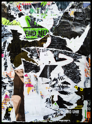 Anfang und Ende, décollage, 55 x 41 cm, 2020