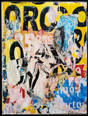 OROCO, décollage with plastic brush bristles, 38,8 x 29,8 cm, 2020