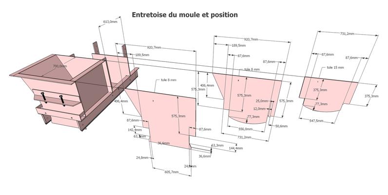 Dessin d'un moule en éclaté pour mise en fabrication localement - Design ProTEC - Slovaquie