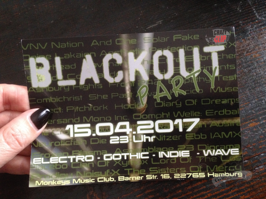 Flyer zur Blackout Party im Monkeys Music Club Hamburg / Foto: Gothamella