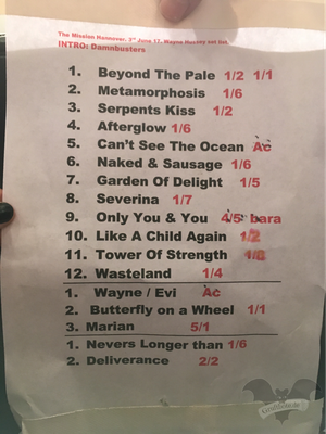 The Mission Setlist des Konzerts in Hannover, 03. Juni 2017 / Foto: Batty Blue