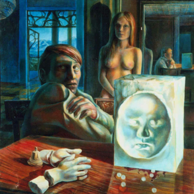 Corrida El-Basso, Vladimir Skripnik, 1990, oil, canvas, 76x76, ID1031, Comments: The Transition from youth to adulthood is often full of frustrating collapse of high romantic visions of the sensual world.